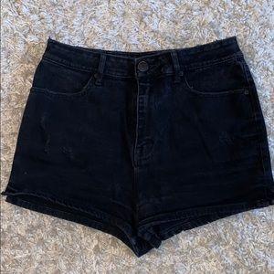 High Waister Black Denim BDG Shorts